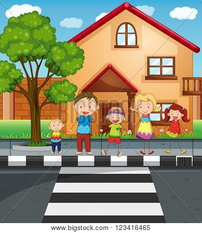 Family holding hands while crossing the road illustration