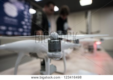 SAINT-PETERSBURG, RUSSIA - FEBRUARY 26: The aircraft - the drone Phantom 4 during setup in Febtuary 26, 2016
