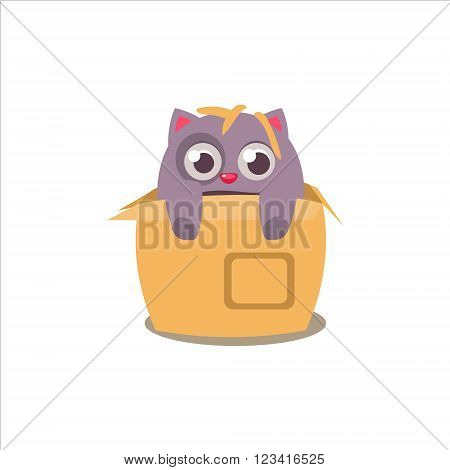 Cat Emerging From Box Adorable Emoji Flat Vector Caroon Style Isolated Icon