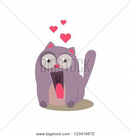 Cat Being Ecstatic Adorable Emoji Flat Vector Caroon Style Isolated Icon