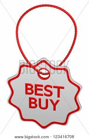 Best buy tag isolated on white background. 3D render.