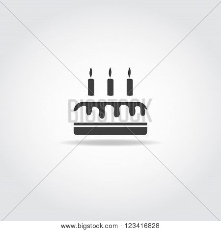 Simple black icon. Trasparent birthday cake with chocolate drip and three candles.