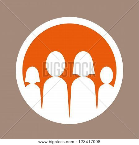 Group of stylized male and female figures representing adults and children as a family unit or members of society