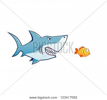 shark attack tiny fish vector illustration shark attak tiny fish vector illustration