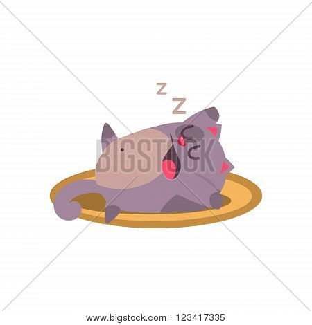 Cat Sleeping And Snoring Adorable Emoji Flat Vector Caroon Style Isolated Icon