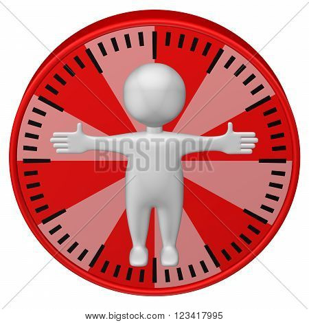 Concept : man-hour. 3d Man and clock face. Isolated on white background. 3D render.