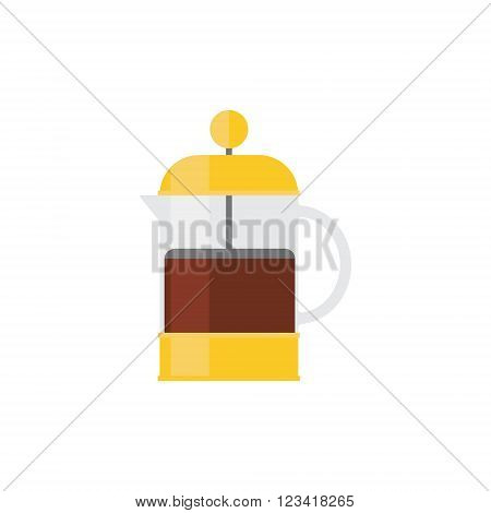 Coffee Press Simplified Graphic Flat Vector Illustration Isolated On White Background