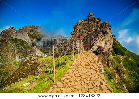 view of the Pico do Arieiro trekking footpath Madeira Portugal