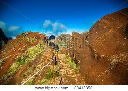 trekking path from Pico do Arieiro to Pico Ruivo Madeira Portugal