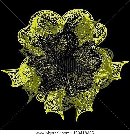 Yellow And Black Vector Flower