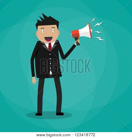 Businessman holding a megaphone, happy manager with bullhorn Vector illustration in flat design on green background