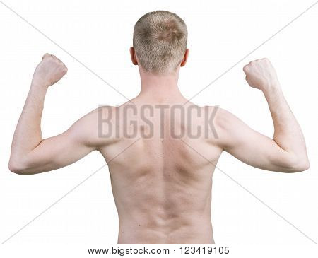 Blonde man standing with his back against a white background