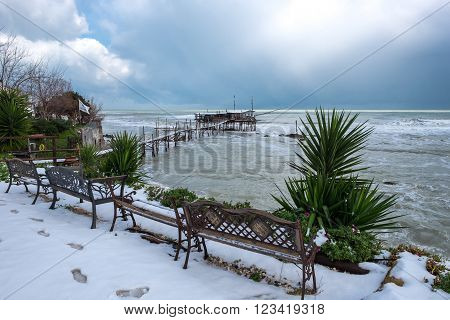 A day with snow between Trabocchi Abruzzo