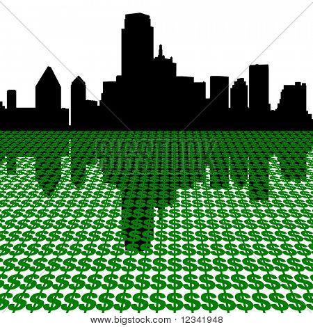 Dallas Skyline with dollars illustration