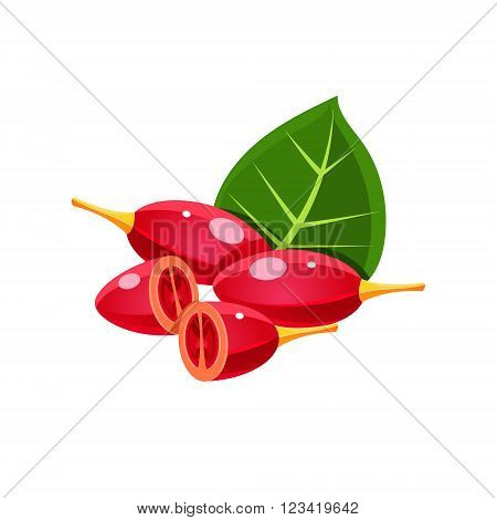Goji Berry Flat Vector Sticker Simplified Design Isolated On White Backgroung
