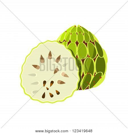 Soursop Flat Vector Sticker Simplified Design Isolated On White Backgroung