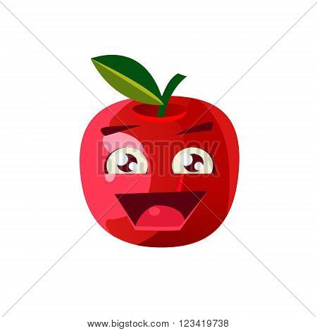 Excited Apple Emoji Flat Vector Illustration In Primitive Cartoon Style Isolated On White Background