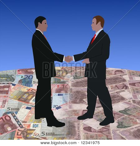 business men meeting on euros and Korean currency illustration