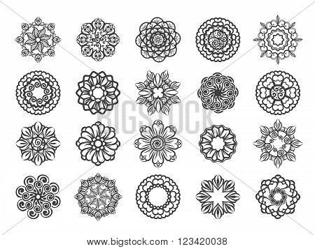 Ornamental floral abstract vector circular mehndi ornament set