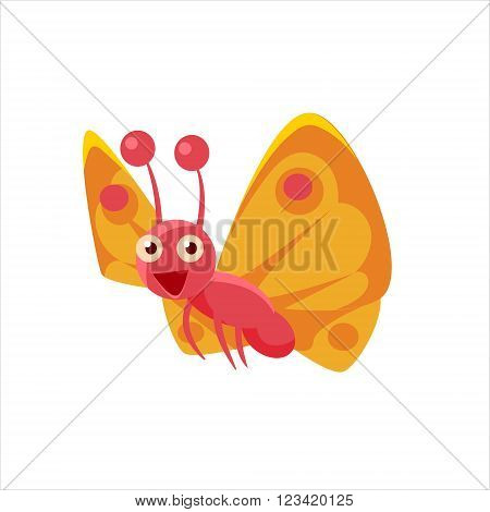 Butterfly Mid-air Childish Character Isolated Flat Colorful Vector Icon On White Background