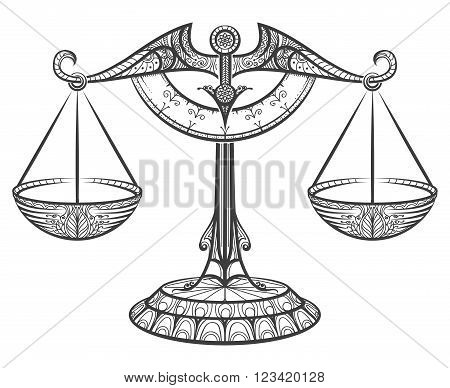 Zodiac sign of Libra drawn in zentangle style. Line libra icon. Vector illustration