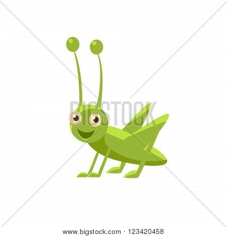 Happy Grasshopper Childish Character Isolated Flat Colorful Vector Icon On White Background