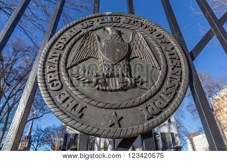 Mississippi State Seal On The Gates Of Governor's Mansion In Jackson,  Mississippi