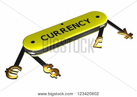 Concept: currency sign on knife isolated on white background. 3D render.