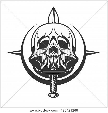 Military Skull - Emblem Chevron with daggers. Isolated on white.