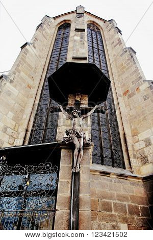 PLZEN, CZECH REPUBLIC - JUNE 5: Crucifixion of Christ on the St. Bartholomew's Cathedral on june 5, 2013 in Pilsen, Czech republic.