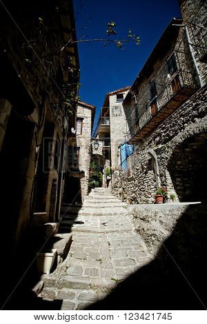 Medieval cobbled street in Peille Cote d'Azur France.