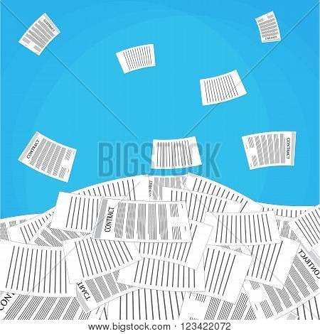 pile of office papers. Vector illustration in flat design on blue background.