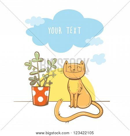Morning greeting card with cute cartoon  cat and  houseplant. Dawn and morning clouds. Children's illustration. Vector image.