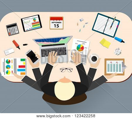 Office job stress work vector illustration. Stress on work. Business man many hands. Office life business man. Business situation. People action. Computer, table, many hands. Office people. Stress job