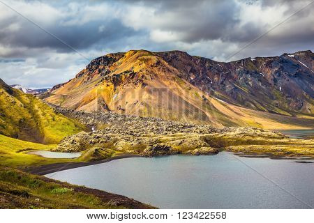 Cool blue water of the lake among the yellow-green tundra. The magic of summer in Iceland