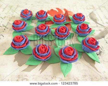 macro multicolored roses beautiful handmade rubber eva
