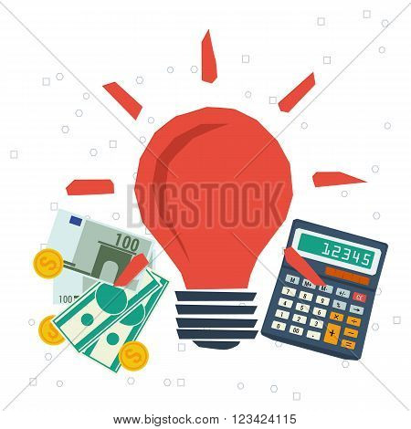 Vector concept monetization ideas. Startup. Budget for family. Business idea and planning. Flat style. Infographics
