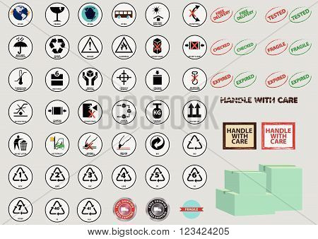Set Of Packaging Symbols (fragile, handle with care, keep dry, protect from heat, use no hooks, do not stack, do not roll, do not clamp, keep away from heat, fifo system, stacking limitation)