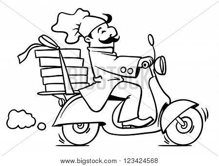 Emblem or illustration of funny pizza chef or baker rides a scooter or motobike with boxes of pizza, like courier or delivery boy.  Children vector illustration. Black and white version. Cartoon