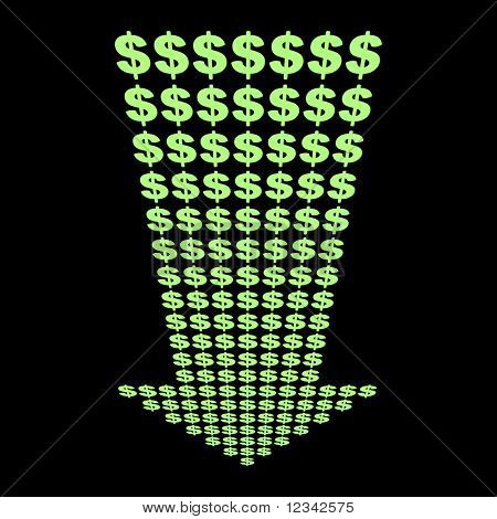 dollars symbol arrow pointing downwards illustration