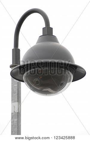 Street community  CCTV camera isolated on white.
