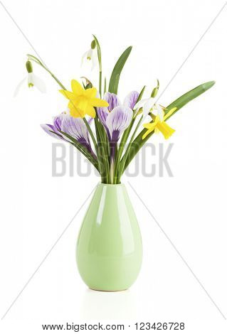 daffodils, snowdrops and crocuses in a small vase, isolated on white background