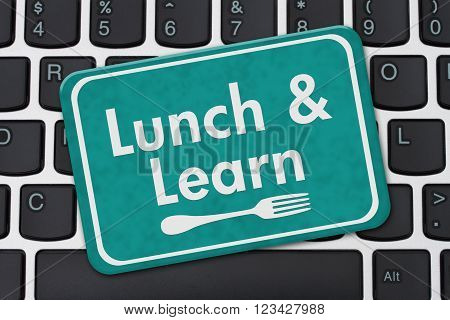 Lunch and Learn Sign A teal hanging sign with text Lunch and Learn and a fork on a keyboard, 3D Illustration