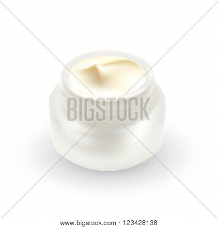 Open blank realistic cosmetic container or macro white plastic jar with cream close-up. 3D illustration. Body care, facial mask or anti aging treatment