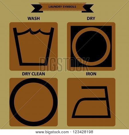 set of laundry symbols, wash, dry, iron, dry clean. flat vector illustration