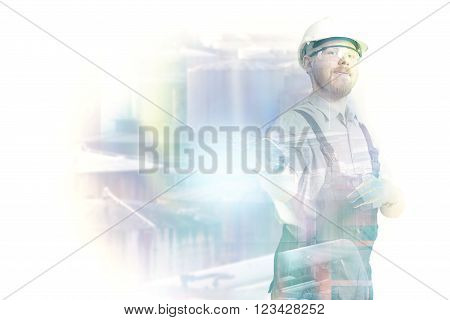 Double Exposure Image of Worker and Industrial Depot
