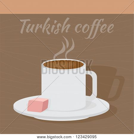 Traditional Turkish coffee with turkish delight. Middle East Food.