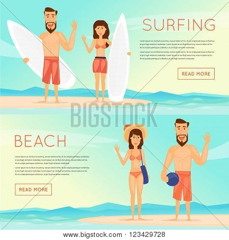 Surfing, beach volleyball, sports, beach and sea characters. Flat design vector illustrations.