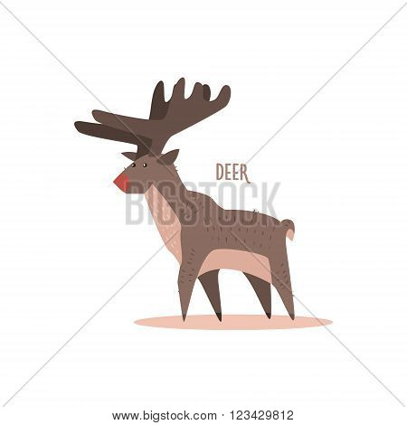 Deer Drawing For Arctic Animals Collection Of Flat Vector Illustration In Creative Style On White Background