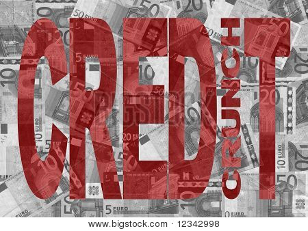 Credit Crunch text with Euros background
